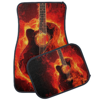 Flaming Acoustic Guitar Printed Car Floor Carpet