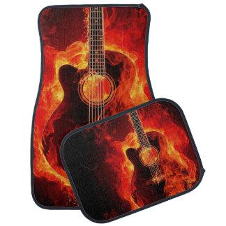 Flaming Acoustic Guitar Printed Car Mat