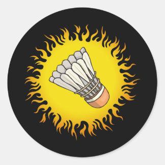 Flaming Badminton Classic Round Sticker