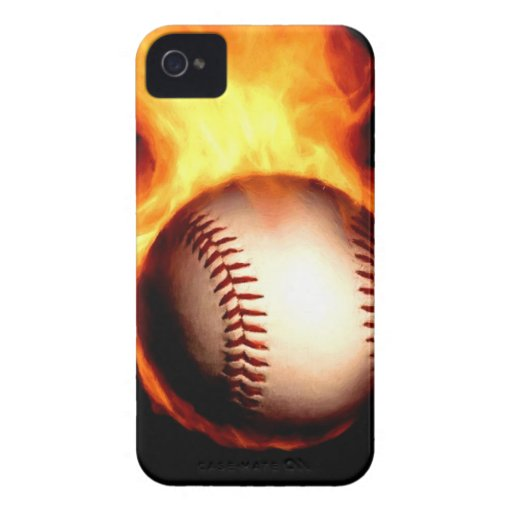 Flaming Baseball Case-Mate iPhone 4 Case