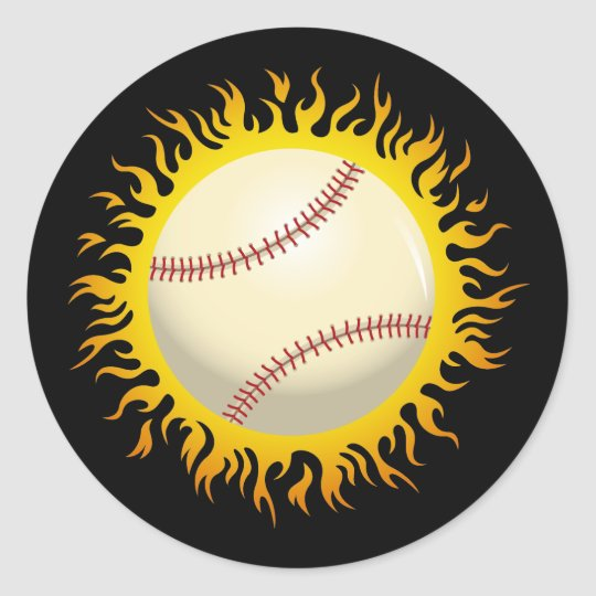 Flaming Baseball Classic Round Sticker