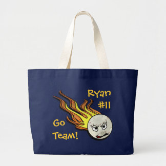 Flaming Baseball Tote Bag