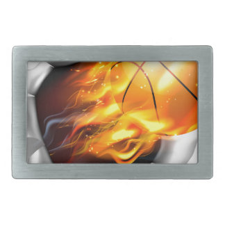 Flaming Basketball Ball Tearing a Hole in the Back Belt Buckle