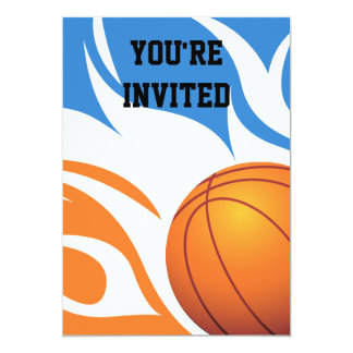 "Flaming Basketball Birthday B/O Party 5"" X 7"" Invitation Card"