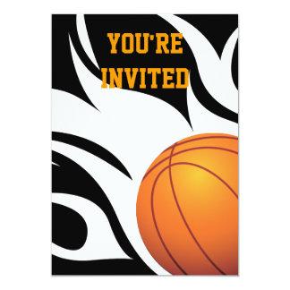 "Flaming Basketball Birthday B/W Party 5"" X 7"" Invitation Card"