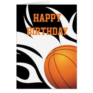 Happy flaming birthday cards photocards invitations more flaming basketball black and white happy birthday card bookmarktalkfo Image collections