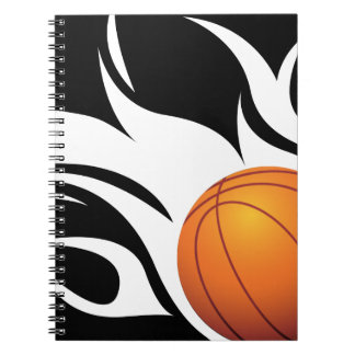 Flaming Basketball Black and White Notebook