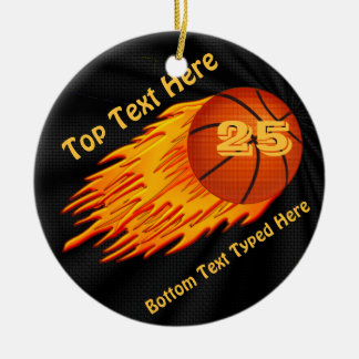 Flaming Basketball Ornament YOUR NUMBER and NAME