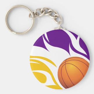 Flaming Basketball Purple and Gold Keychain
