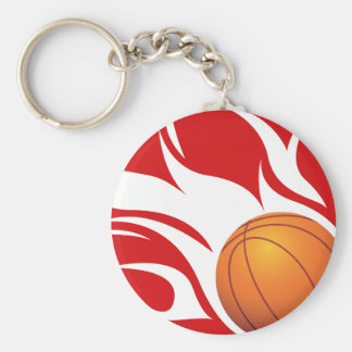 Flaming Basketball Red and White Basic Round Button Keychain