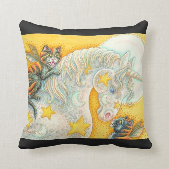 Flaming Bat Cats And Unicorn THROW PILLOW