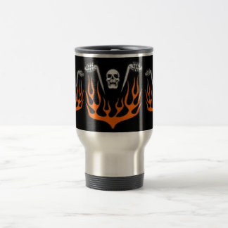 Flaming Biker Skull Travel Mug