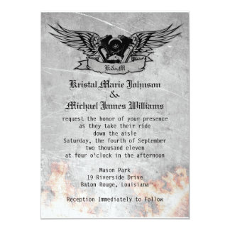 Flaming Biker Wedding Card