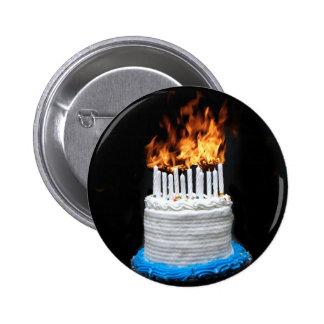 Flaming Birthday Cake 2 Inch Round Button