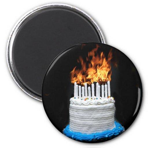 Flaming Birthday Cake Magnets