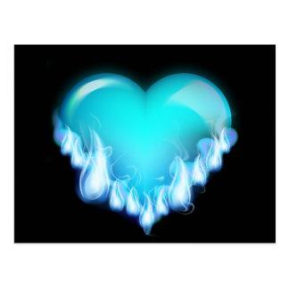 FLAMING BLUE ICE HEART LOVE SWEETHEARTS FLIRTING T POSTCARD