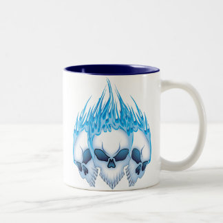 Flaming Blue Skulls Two-Tone Coffee Mug