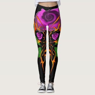 flaming butterfly floral tattoo design leggings