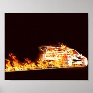 Flaming Car Poster