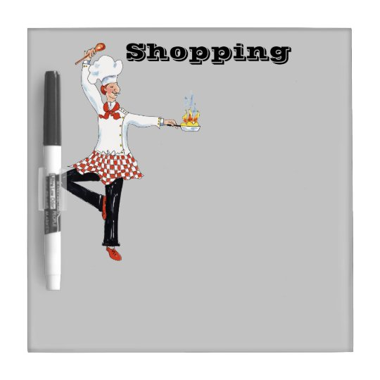 Flaming Chef Shopping dry erase board