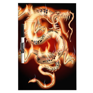 Flaming Chinese Dragon Dry-Erase Boards