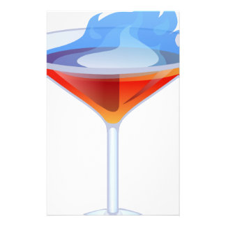 Flaming Cocktail Glass Stationery Design