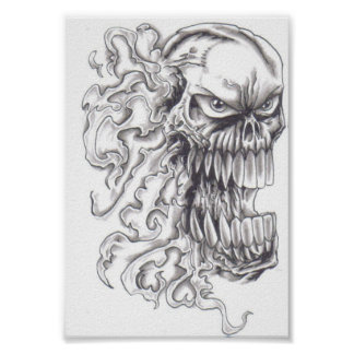 Flaming Demonic Skull Art Poster
