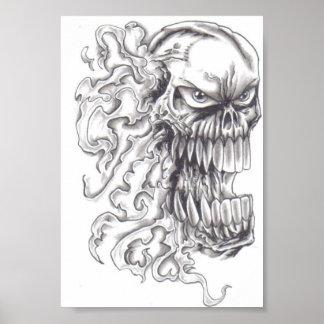 Flaming Demonic Skull Art Poster