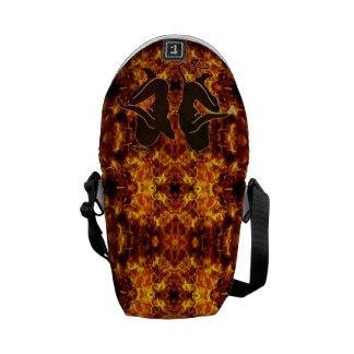 Flaming Devil and Angel Messenger Bag