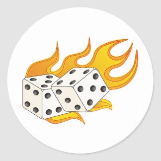 Flaming Dice Classic Round Sticker