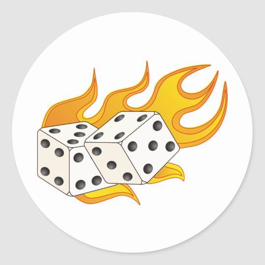 Flaming Dice Classic Round Sticker