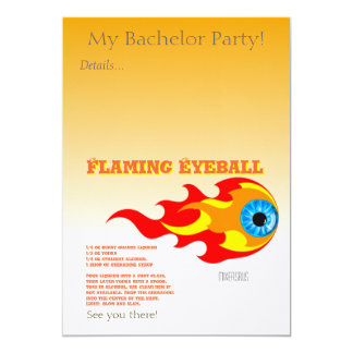 "Flaming Eyeball Drink Recipe 5"" X 7"" Invitation Card"