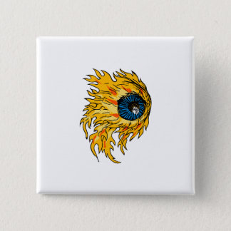 Flaming Eyeball On Fire Drawing 2 Inch Square Button