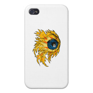 Flaming Eyeball On Fire Drawing iPhone 4/4S Case