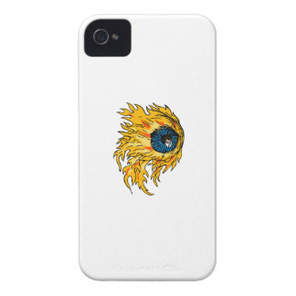 Flaming Eyeball On Fire Drawing iPhone 4 Cover