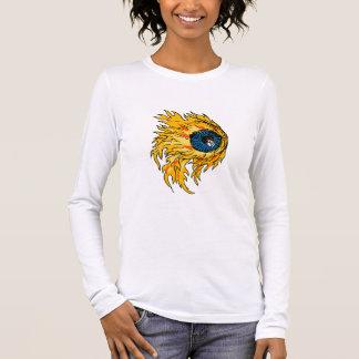 Flaming Eyeball On Fire Drawing Long Sleeve T-Shirt