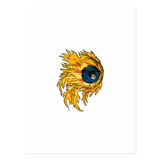 Flaming Eyeball On Fire Drawing Postcard