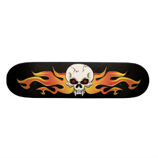 Flaming Fanged Skull Custom Skateboard