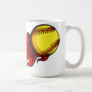 Flaming Fastpitch Softball Coffee Mug
