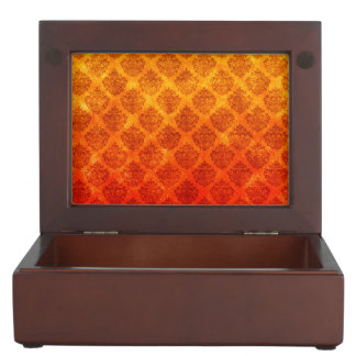 Flaming Fire Colors Ornate Damask Grunge Texture Keepsake Box