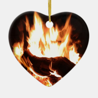 Flaming Fireplace Design Ceramic Ornament