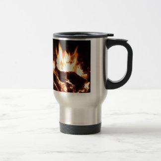 Flaming Fireplace Design Travel Mug
