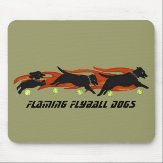 Flaming Flyball Dogs Mouse Pad