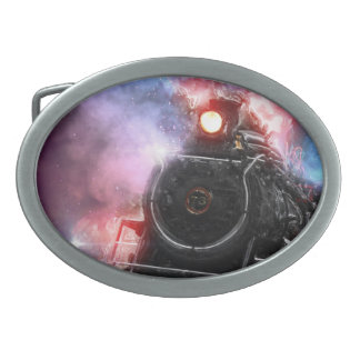 Flaming Freight Train Belt Buckles