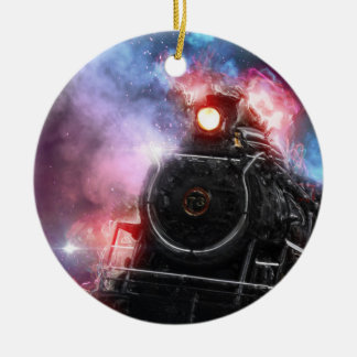 Flaming Freight Train Ceramic Ornament