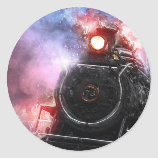Flaming Freight Train Classic Round Sticker