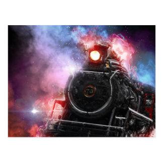 Flaming Freight Train Postcard