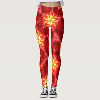 flaming gold stars red leggings