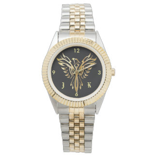 Flaming golden phoenix rising with initials watch