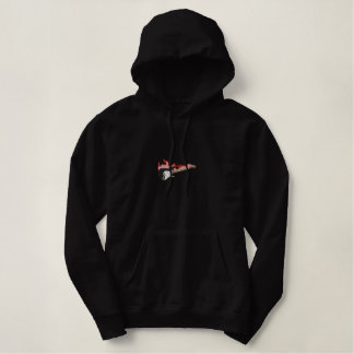 Flaming Guitar On Fire Embroidered Hoodie